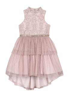 Badgley Mischka Collection Embroidered Tulle Dress (Big Girl)