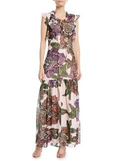 Badgley Mischka Floral Maxi Dress w/ Self-Tie Neck