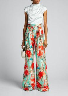 Badgley Mischka Collection Floral Mikado Wide-Leg Pants