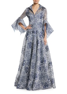 Badgley Mischka Floral Organza Striped Trumpet-Sleeve Gown