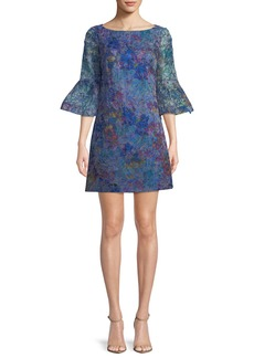 Badgley Mischka Floral Organza Trumpet-Sleeve Mini Dress
