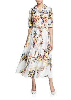 Badgley Mischka Collection Floral-Print Button-Down Elbow-Sleeve Belted Shirtdress