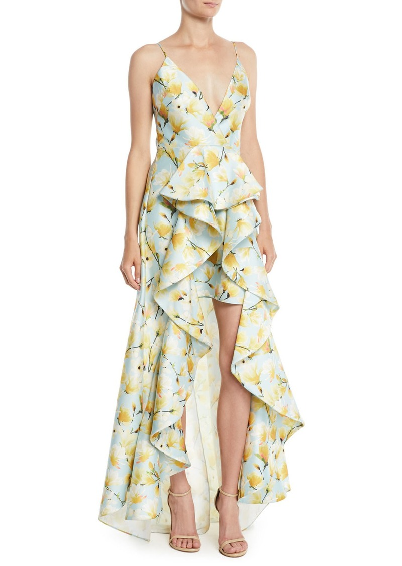 152c5c35e14b Badgley Mischka Floral-Print Mikado Ruffle High-Low Gown | Dresses