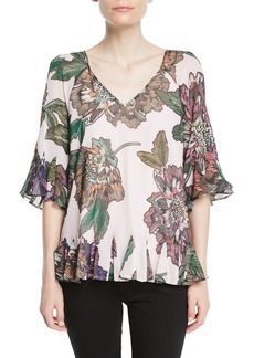 Badgley Mischka Floral-Print V-Neck Peasant Top