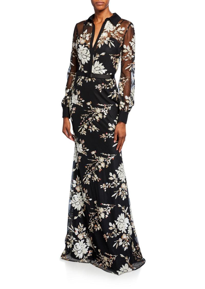 Badgley Mischka Collection Floral Sequin Long-Sleeve Shirtdress