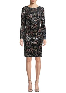 Badgley Mischka Collection Floral-Sequin Long-Sleeve Velvet Dress