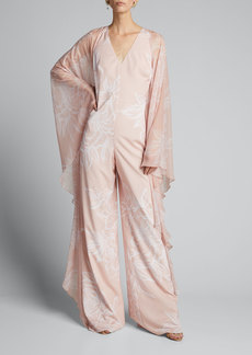 Badgley Mischka Collection Floral Sheer-Sleeve Caftan Jumpsuit