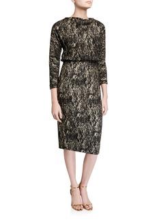Badgley Mischka Collection Foiled High-Neck 3/4-Sleeve Blouson Dress