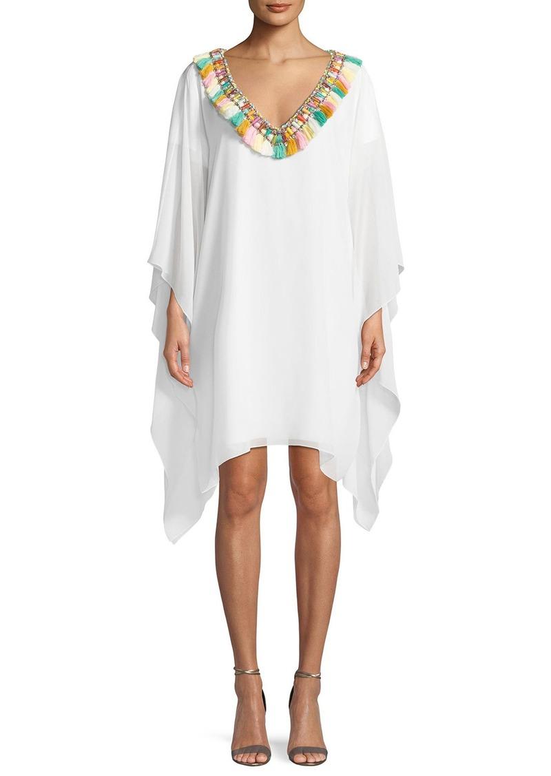 Badgley Mischka Fringe Pompom V-Neck Caftan Dress   Dresses