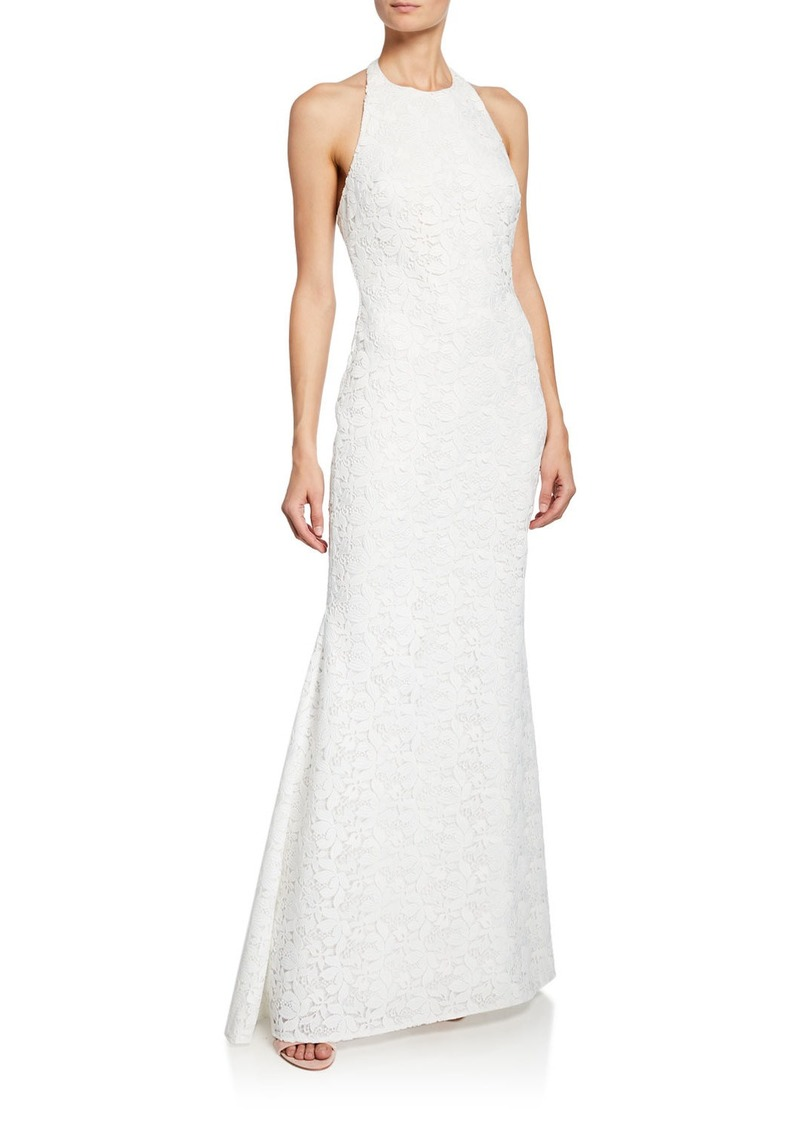 Badgley Mischka Collection Halter Low-Back Lace Gown
