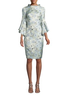 Badgley Mischka High-Neck Trumpet-Sleeve Brocade Sheath Dress