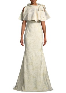 Badgley Mischka Jacquard Popover Bow Trumpet Gown