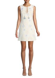 Badgley Mischka Jacquard Sleeveless Mini Dress w/ Lace-Up Neck