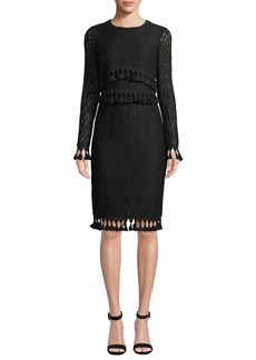 Badgley Mischka Collection Lace Long-Sleeve & Tassel Dress