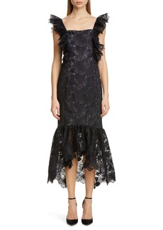Badgley Mischka Collection Lace Midi Cocktail Dress