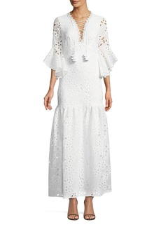 Badgley Mischka Lace-Up Flutter-Sleeve Eyelet Maxi Dress