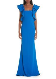Badgley Mischka Collection Ruffle Shoulder Evening Dress
