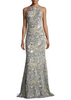 Badgley Mischka Mermaid Sequin & Velvet Long Evening Gown