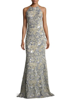 Badgley Mischka Collection Mermaid Sequin & Velvet Long Evening Gown