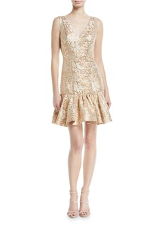 Badgley Mischka Collection Metallic Jacquard Cocktail Dress w/ Flounce Hem