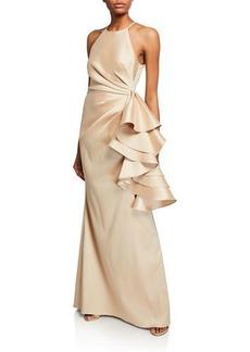 Badgley Mischka Collection Mikado Shirred-Bodice Side-Ruffle Halter Gown