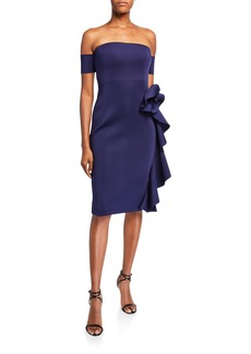 Badgley Mischka Collection Off-the-Shoulder Cocktail Dress w/ Cascading Hip Flower