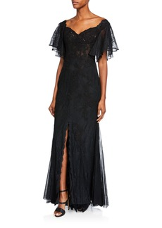 Badgley Mischka Collection Off-the-Shoulder Flounce-Sleeve Lace Corset A-Line Gown
