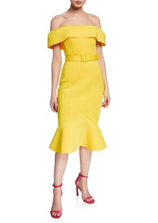 Badgley Mischka Collection Off-the-Shoulder Short-Sleeve Belted Flounce Hem Scuba Dress