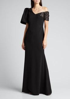 Badgley Mischka Collection One-Shoulder Embellished Crepe Gown