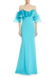 Badgley Mischka Organza Ruffle-Sleeve Mermaid Gown