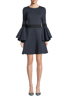 Badgley Mischka Collection Oversized Trumpet-Sleeve Mini Dress