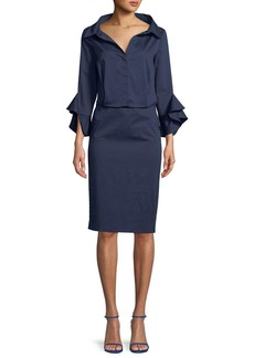 Badgley Mischka Poplin Stretch Ruffle-Sleeve Shirt Dress