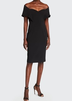 Badgley Mischka Collection Portrait Off-the-Shoulder Sheath Dress