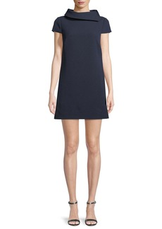 Badgley Mischka Roll-Collar Short-Sleeve Mini Dress