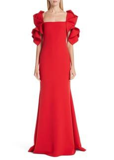 Badgley Mischka Collection Ruffle Sleeve Evening Dress