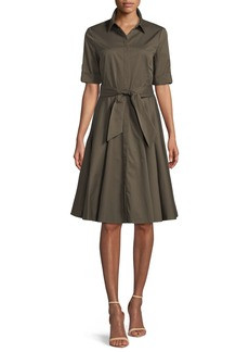 Badgley Mischka Safari Belted Fit-&-Flare Shirtdress