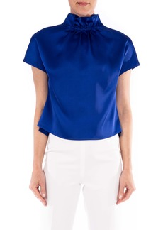 Badgley Mischka Collection Satin Ruched Neck Top