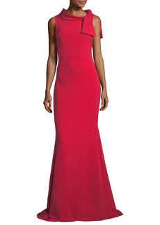 Badgley Mischka Self-Tie Sleeveless Column Gown