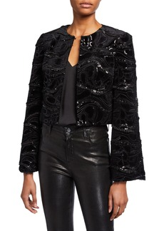 Badgley Mischka Collection Sequin Embellished Velvet Bolero Jacket