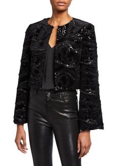 Badgley Mischka Collection Sequin Embellished Velvet Bolero Jacket