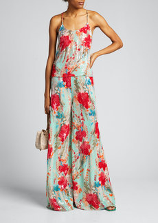 Badgley Mischka Collection Sequin Floral Wide-Leg Pants