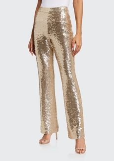 Badgley Mischka Collection Sequin Full Leg Pants