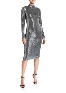 Badgley Mischka Collection Sequin Mock-Neck Long-Sleeve Sheath Dress
