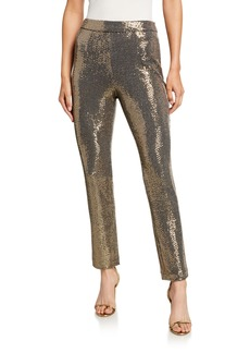 Badgley Mischka Collection Sequin Straight-Leg Pants