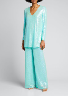 Badgley Mischka Collection Sequin V-Neck Tunic