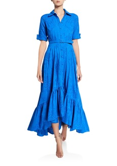 Badgley Mischka Collection Short-Sleeve Eyelet Belted Shirtdress