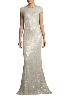 Badgley Mischka Collection Short-Sleeve Sequin Cowl-Back Evening Gown