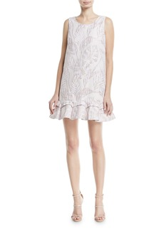 Badgley Mischka Sleeveless Jacquard Mini Sack Cocktail Dress