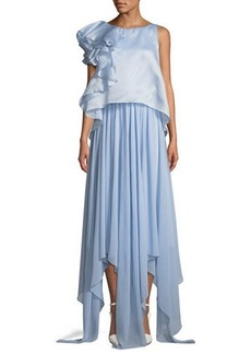 Badgley Mischka Collection Sleeveless Popover Organza Pleated Gown