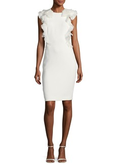 Badgley Mischka Sleeveless Ruffle-Back Cocktail Sheath Dress